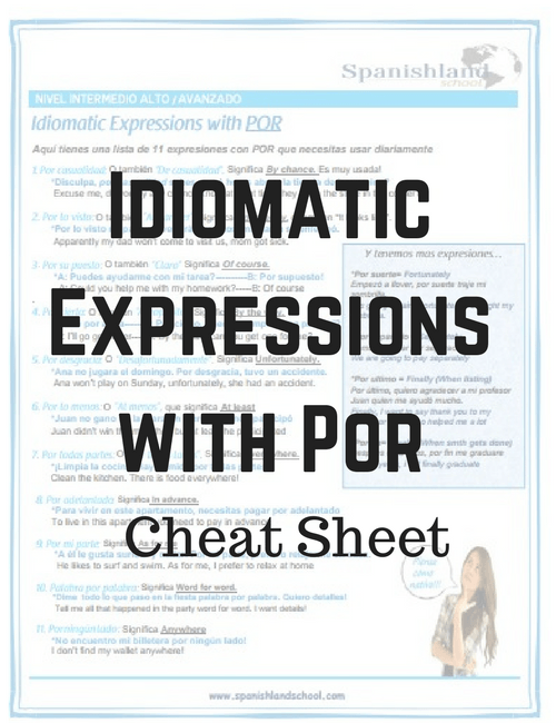 Idiomatic Expressions With Por Cheat Sheet Worksheet Pdf