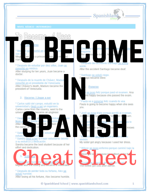 To Become in Spanish - Cheat Sheet [PDF]